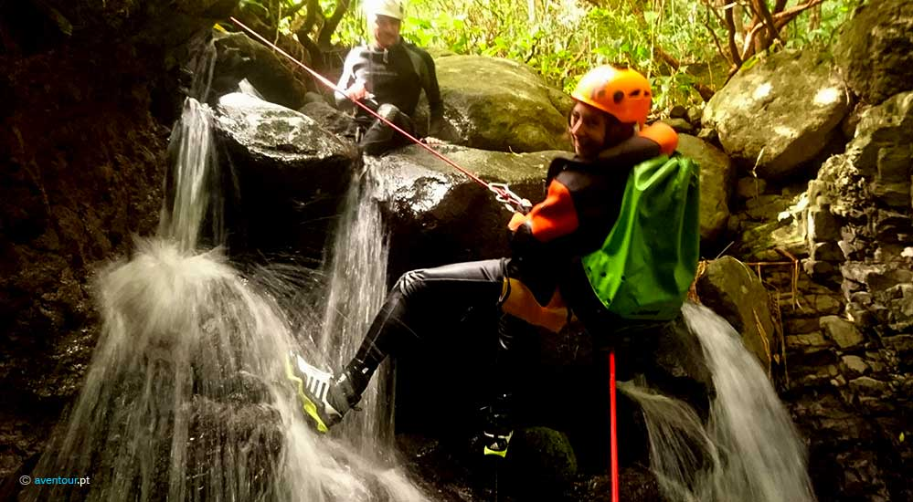 Canyoning in Caldeira Santo Cristo in São Jorge Island in Azores